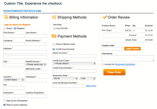 magento one page checkout